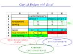 capital budget with excel