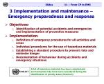 3 implementation and maintenance emergency preparedness and response