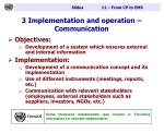 3 implementation and operation communication