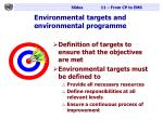 environmental targets and environmental programme