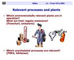 relevant processes and plants