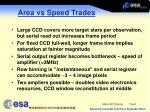area vs speed trades