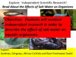 explore independent scientific research read about the effects of salt water on organisms