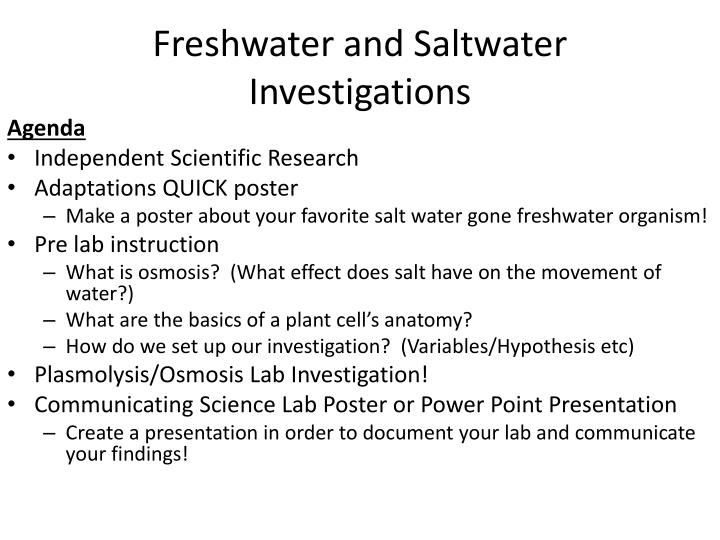 freshwater and saltwater investigations n.