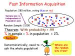 fast information acquisition