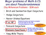 major problems of math cs are about pseudorandomness