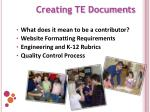 creating te documents