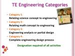 te engineering categories