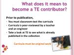 what does it mean to become a te contributor1