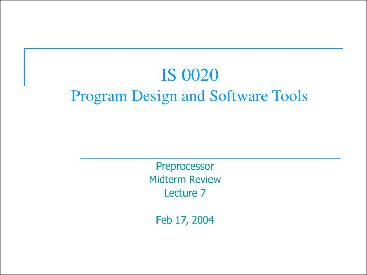 is 0020 program design and software tools n.