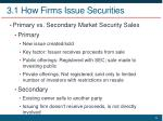 3 1 how firms issue securities
