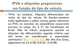 ipva e al quotas progressivas em fun o do tipo de ve culo