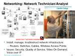 networking network technician analyst