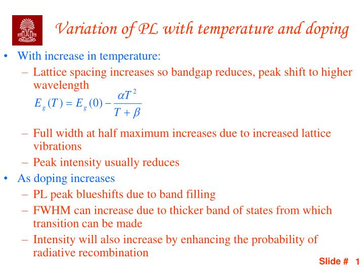 variation of pl with temperature and doping n.
