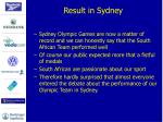 result in sydney