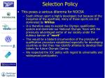 selection policy2