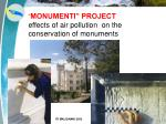monumenti project effects of air pollution on the conservation of monuments