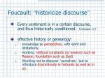 foucault historicize discourse