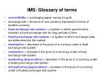 ims glossary of terms