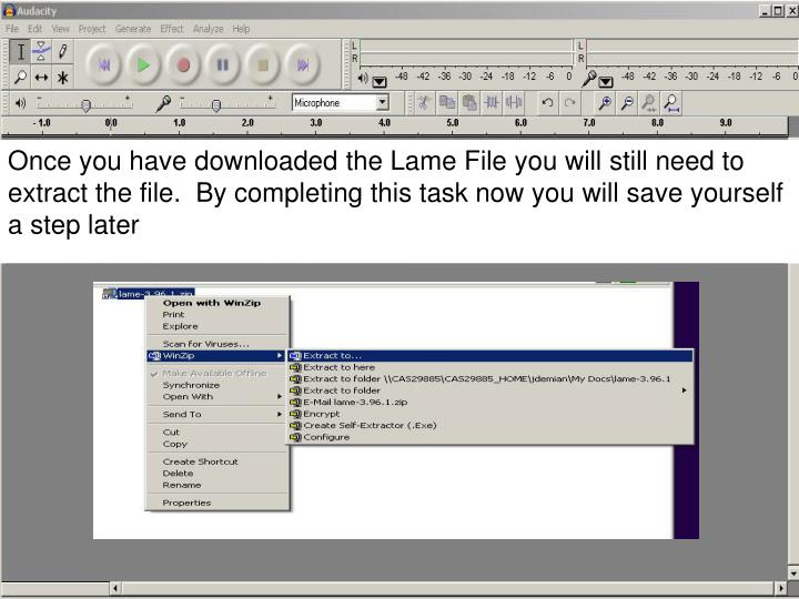 Once you have downloaded the Lame File you will still need to extract the file.  By completing this task now you will save yourself a step later