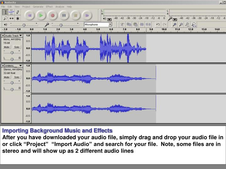 Importing Background Music and Effects