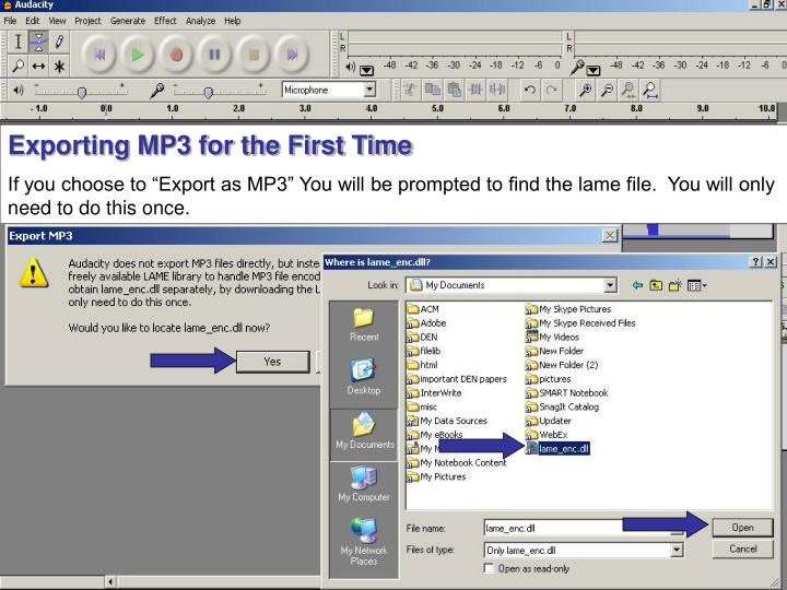 Exporting MP3 for the First Time