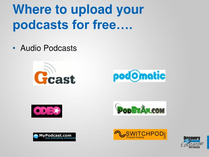 Where to upload your podcasts for free….