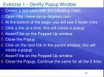 exercise 1 devry popup window