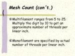 mesh count con t