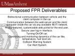 proposed fpr deliverables