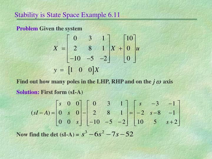 Stability is State Space Example 6.11