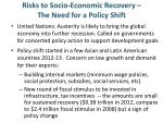 risks to socio economic recovery the need for a policy shift