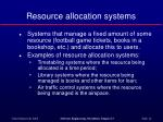resource allocation systems