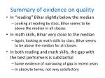 summary of evidence on quality