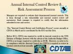 annual internal control review risk assessment process