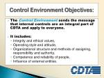 control environment objectives