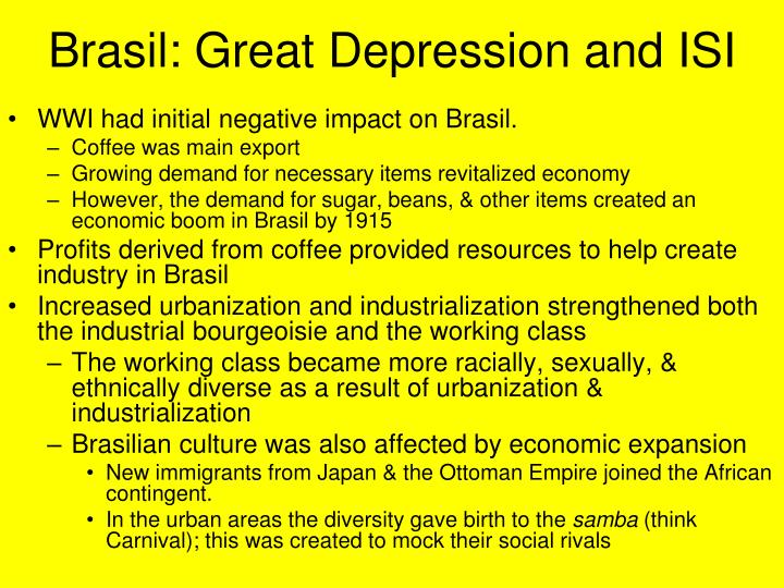 brasil great depression and isi n.