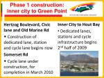 phase 1 construction inner city to green point