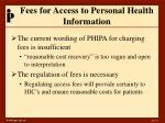 fees for access to personal health information