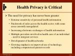 health privacy is critical