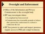 oversight and enforcement