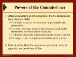 powers of the commissioner