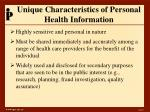 unique characteristics of personal health information