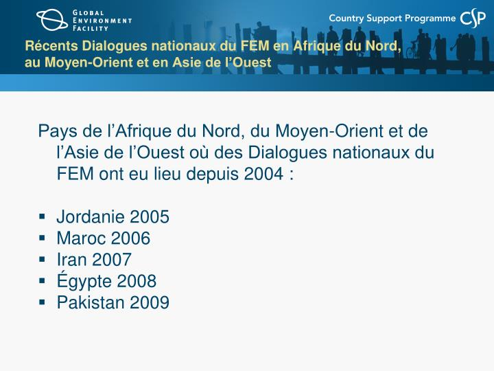 Récents Dialogues nationaux du FEM en Afrique du Nord,