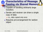 characteristics of message passing via shared memory