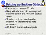 setting up section objects