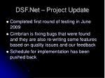 dsf net project update