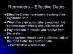 reminders effective dates