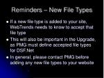 reminders new file types