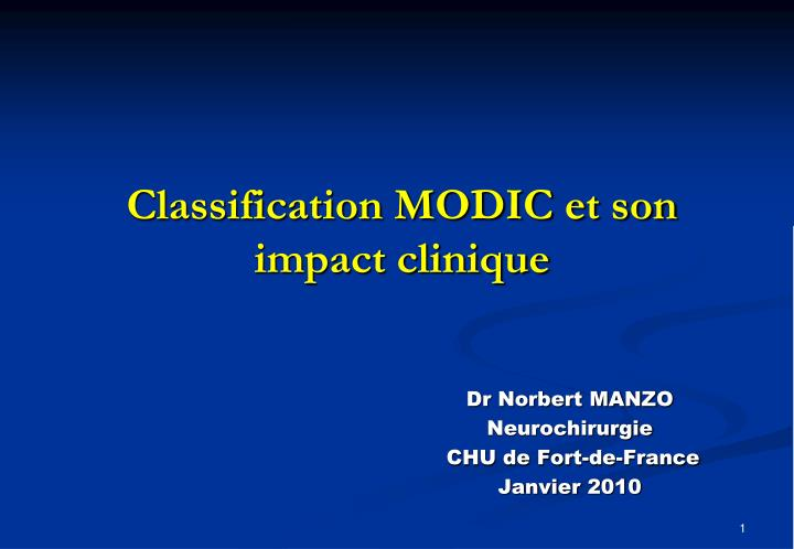 classification modic et son impact clinique n.